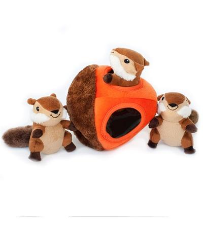 Zippy Burrow Chipmunk 'N Acorn Plush Dog Toy