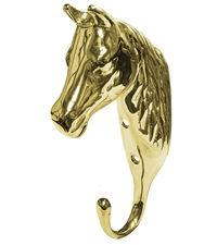 3-D Solid Brass Horsehead Hook