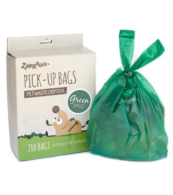 Zippy Paws Green Unscented Poop Bags (210 per box)