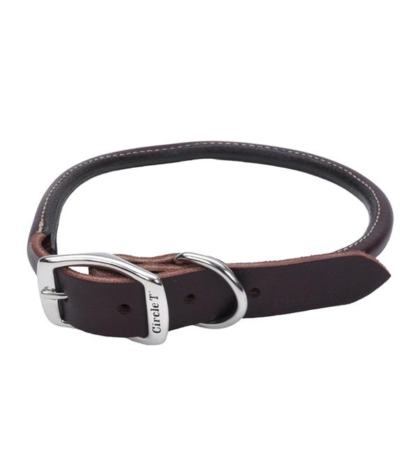 "Circle T® Latigo Leather Dog Collar Round 1"""