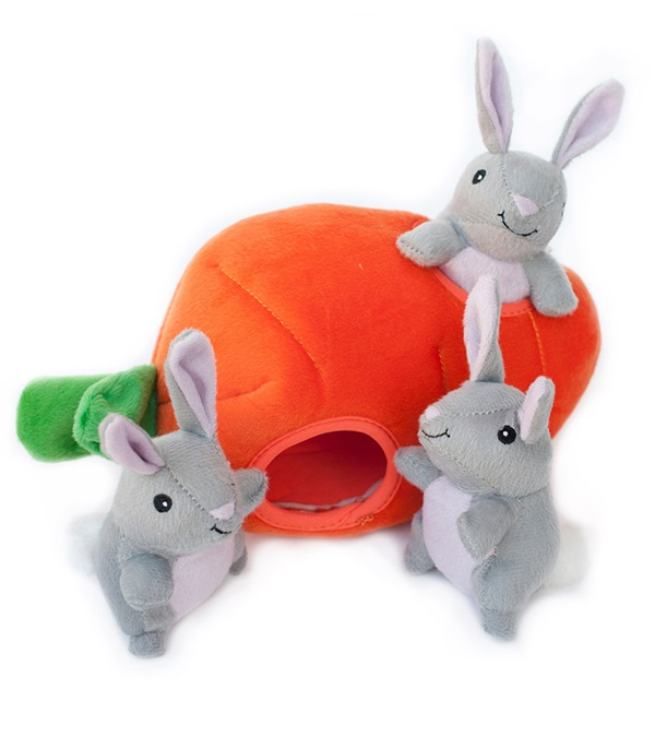 Zippy Burrow Bunny 'N Carrot Plush Dog Toy