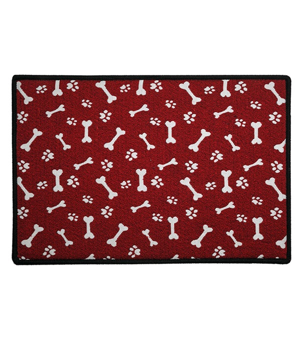Indipets Red And White Paw Bone Pet Place Mat Jacks Inc
