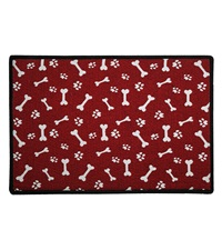 Indipets™ Red and White Paw Bone Pet Place Mat