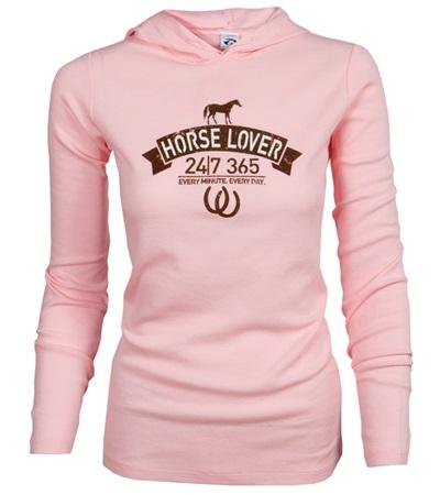 Horse Lover 24/7 Thermal Hooded Long Sleeve Tee - Pink