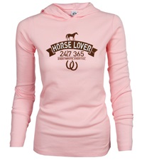 Horse Lover 24/7 Thermal Hooded Long Sleeve Tee - Pink