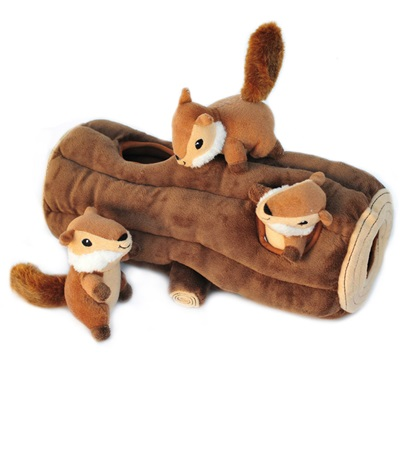 Zippy Paws Burrow Log with Chipmunks Plush Dog Toy