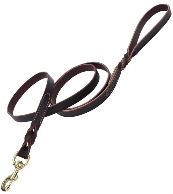 "Coastal® Latigo Leather Twist Dog Leash with Solid Brass 3/4"""