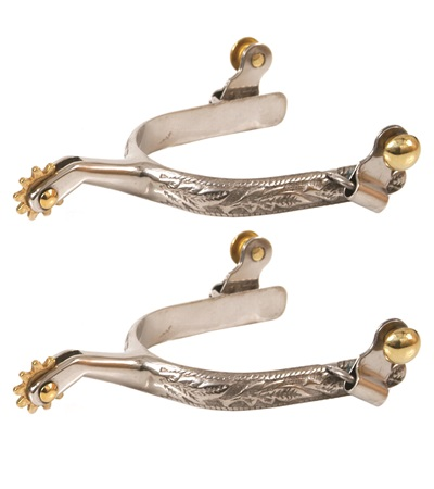 Stainless Steel Spurs with Leaf Design