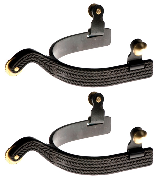 Black Steel Basket Weave Roping Spurs