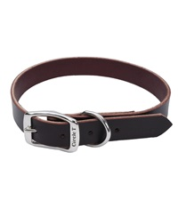 Circle T® Latigo Leather Town Dog Collar Flat 1""