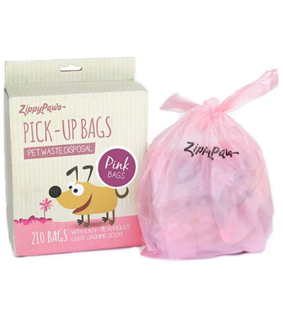 Zippy Paws Pink Scented Poop Bags (210 per box)