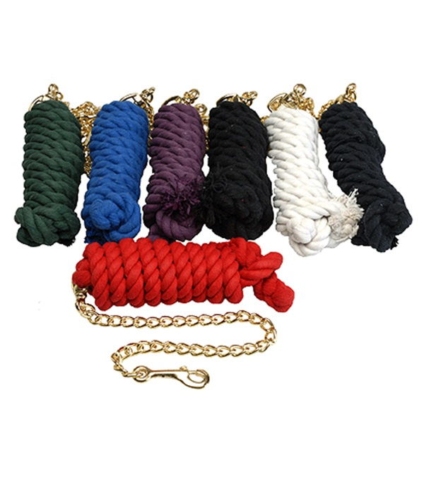 """Cotton Lead Rope with 20"""" Brass Plated Chain"""