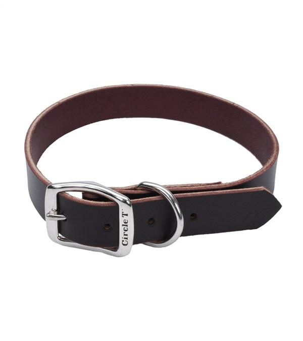 "Circle T® Latigo Leather Town Dog Collar Flat 5/8"""