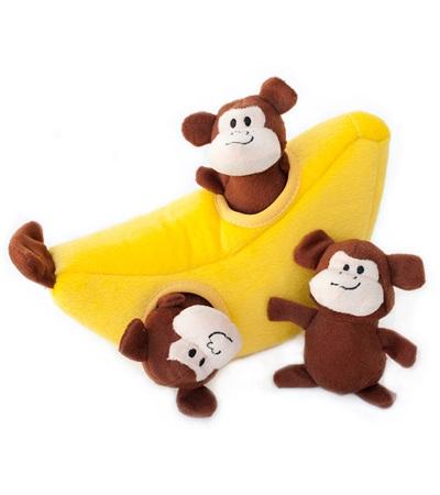 Zippy Burrow Monkey 'n Banana Plush Dog Toy
