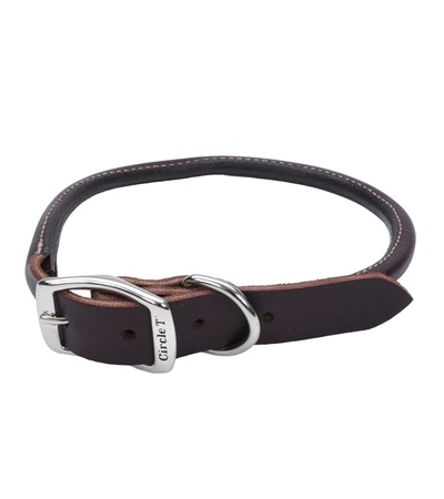 Circle T® Latigo Leather Dog Collar Round 3/8""
