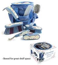 Desert Equestrian Equestria™ Sport Horseshoes™ Grooming Kit 8 piece Denim Blue